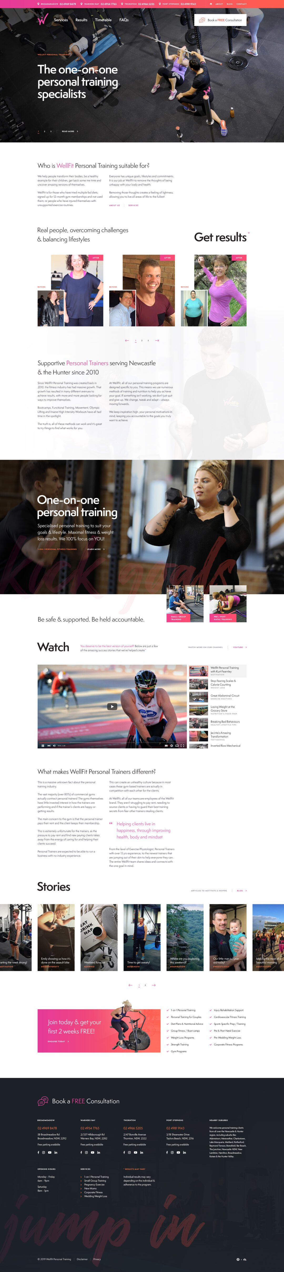 website homepage design for Wellfit Personal Training in Newcastle, NSW